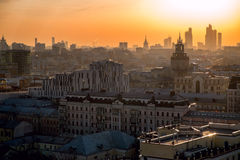 Moscow skyline at the sunset. Russia Stock Photos