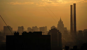 Moscow Skyline at Sunset Royalty Free Stock Image