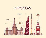 Moscow skyline trendy vector illustration linear Royalty Free Stock Image