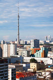 Moscow skyline with TV tower Stock Photo