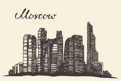 Moscow skyline vector engraved hand drawn sketch Royalty Free Stock Photo
