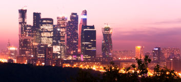 Moscow skyscrapers dusk Stock Photos