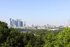 Moscow and skyscrapers from Vorob�vyh mountains Royalty Free Stock Photo