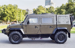 Moscow, Sokolniki Park in the day of Mariners of the Navy army with the exhibition of an armored vehicle Stock Photos