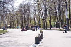 Moscow. Sokolniki Park. MOSCOW, RUSSIA - May 05.2015: Oldest recreation Sokolniki Park in the city. An avenue is in a park Stock Images