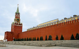 Moscow, Spasskaya Tower and Red Square. Spasskaya Tower of Moscow Kremlin Stock Photos