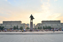 Moscow square with Lenin monument at sunset. Royalty Free Stock Photo