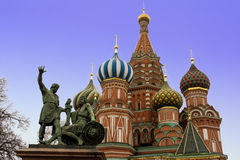 Moscow. St Basil Cathedral and Minin and Pozharsky monument, Moscow, Russia Stock Image