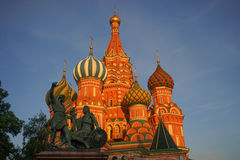 Moscow, St. Basil`s Cathedral. The attraction of beautiful Russian city - Moscow Stock Images