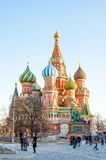 Moscow, St. Basil's Cathedral. MOSCOW, MARCH 10: people walk on the Red Square, near of St. Basil's Cathedral, Russia march 10, 2015 Stock Photography