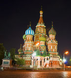 Moscow, St. Basil's cathedral at night Royalty Free Stock Photo
