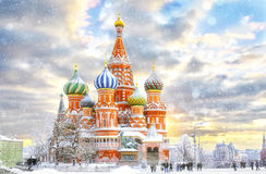 Moscow, St. Basil`s Cathedral. Moscow,Russia,Red square,view of St. Basil`s Cathedral in winter Stock Images