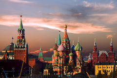 Moscow. St. Basil's Cathedral and Kremlin in the evening. Stock Images