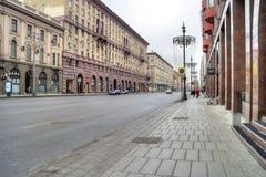moscow 1st Tverskaya-Yamskaya gata Arkivbild
