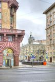 moscow 1st Tverskaya-Yamskaya gata och gränd Alexander Nevsky Arkivfoton