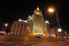 Moscow Stalin Skyscraper by night Stock Image