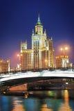 Moscow. Stalin skyskrapa på emban Kotelnicheskaya arkivfoton