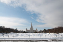 Moscow State Univercity. Front facade view. Snow. Royalty Free Stock Photography
