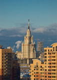 Moscow State University. On sunset Stock Photography