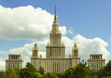 Moscow State University. Building, blue sky and white clouds, sunny day royalty free stock photo