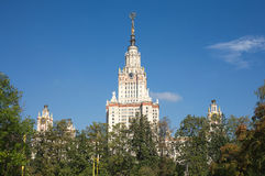 Moscow State University building in summer day Stock Images