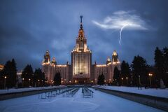 Moscow State University with a dramatic sky