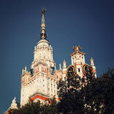 Moscow State University, main building - vintage effect. Royalty Free Stock Photography
