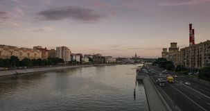 MOSCOW STATE UNIVERSITY and Moscow river Riverfront terrace Time-lapse stock video footage