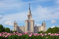 Moscow State University of name of Lomonosov Stock Photos