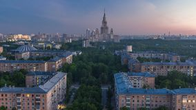 Moscow State University night to day timelapse before sunrise aerial view from rooftop. stock footage