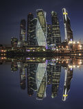 Moscow-city. Reflection at night Royalty Free Stock Image