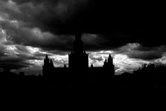 Moscow State University silhouette. Stock Image