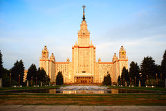 Moscow State University at sunrise Stock Photos