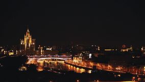 Moscow State University tower scenic timelapse night view of Moscow stock video footage