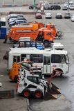 Moscow. Street cleaning technic. Parking of the street cleaning autos near Moscow Kremlin Stock Images