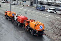 Moscow. Street cleaning technic. Parking of the street cleaning autos near Moscow Kremlin Royalty Free Stock Photo