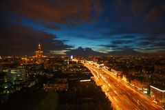 Moscow. Street in moscow at night blurred car lights long exposure Stock Photography