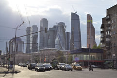 Moscow street and skyscrapers Royalty Free Stock Photos