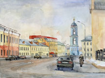 Moscow street. Watercolor. Stock Photo