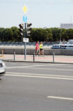 Moscow streets. Sunny day. Frunze Embankment Stock Photography