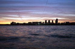Moscow Strogino at sunset. View from Strogino Bay Stock Photo