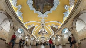 Moscow metro Russia time lapse. Moscow subway metro timelapse at Komsomolskaya Station, Moscow Russia 4K Time lapse stock video footage