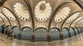 Moscow metro Russia time lapse. Moscow subway metro timelapse at Mayakovskaya Station, Moscow Russia 4K Time lapse stock video