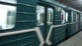 Moscow subway. Moscow, Russia - April 10, 2015: train is departing from Tsaritsyno subway station stock video