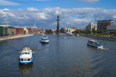 Moscow summer. Navigation on the Moskva River in summer Royalty Free Stock Photo