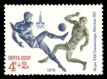 Moscow Summer Olympic Games. USSR - CIRCA 1979: Stamp printed by USSR, Multicolor edition offset printing on topic of Moscow Summer Olympic Games 1980, shows Stock Photography