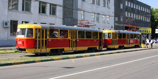 Moscow at summer. Tramway on the moscower street. Moscow at summer. Tramway is staying on the small moscower street Royalty Free Stock Image