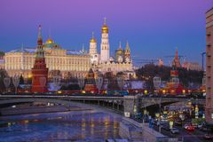 Moscow at sunset from the Moskva River royalty free stock photography