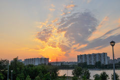 Moscow sunset. Near the river Stock Image