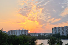 Moscow sunset. Near the river Stock Images